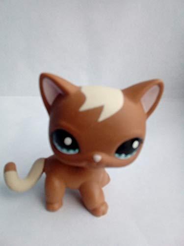 SmileFly Littlest Pet Shop Toys Shorthair Kitten Cat LPS Rare Standing Cat Mask Short Hair (Choose Your cat) for Kids Gift (Brown, Green Eyes, White Ears) 1pc