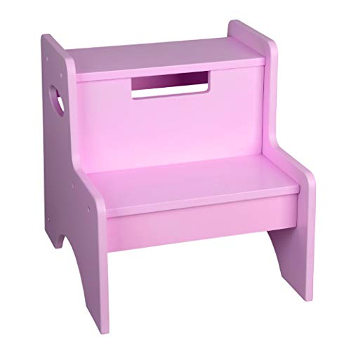 Wildkin Pink Wooden Two-Step Stool for Kids and Adults, Perfect for Kitchen or Bathroom Use, Stepping Stool Features Two Convenient Carrying Handles, Suitable for Individuals Up To 200lbs