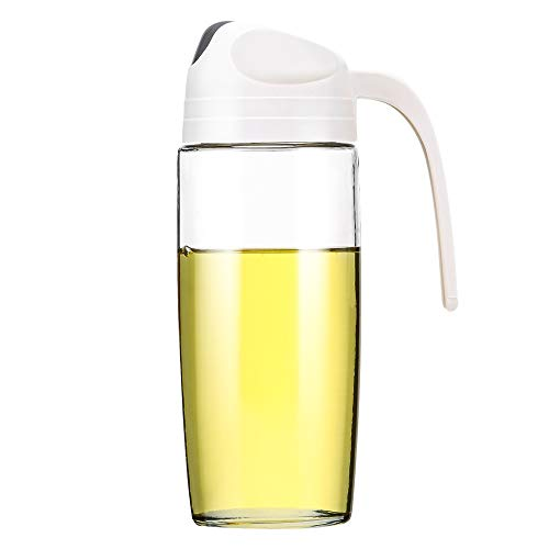 AINAAN - Botella dispensadora de aceite de oliva con tapa automática, contenedor de condimentos a prueba de fugas, mango antideslizante para cocina, Beige, 500...