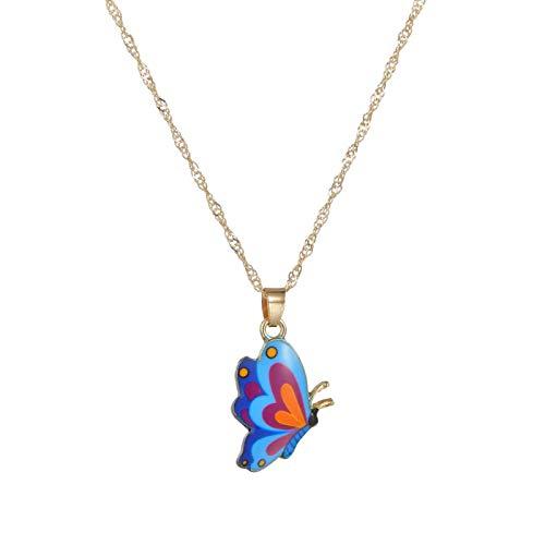 JLEFF Collar de Mariposa de Pintura al óleo de Personalidad de Moda de joyería en Cadena de Mariposa