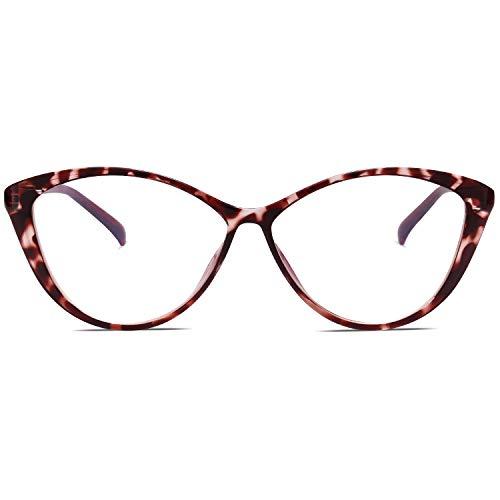 SOJOS Occhiali da Vista Oversize Cat Eye Blu Chiaro per Donna Occhiali da Vista con Montatura Leggera TR90 SJ5057 con Leopardo Viola Telaio/ Lente anti-blu