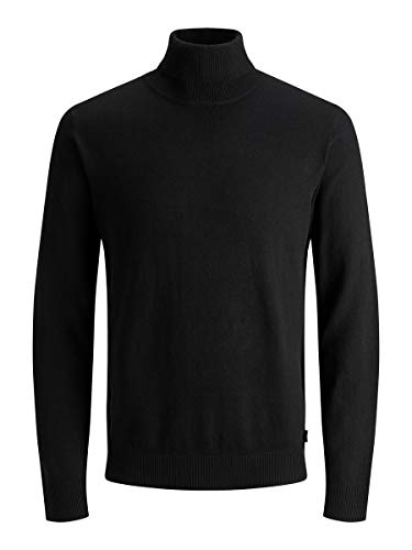 Jack & Jones Jjeemil Knit Roll Neck Noos Camiseta Cuello Alto, Negro (Black Black), XX-Large para Hombre