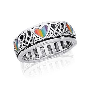Sterling Silver Celtic Knot and Rainbow Peace Heart Spinning Ring Size 4(Sizes 4,5,6,7,8,9,10,11,12,13,14,15)