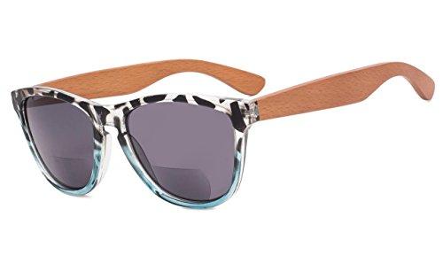 Eyekepper Bifokale Sonnenbrille mit Holz Tempel für Frauen +3.50 Stärke Lesen Sonnenbrillen mit Holz Tempel(Leopard-Blau Rahmen)