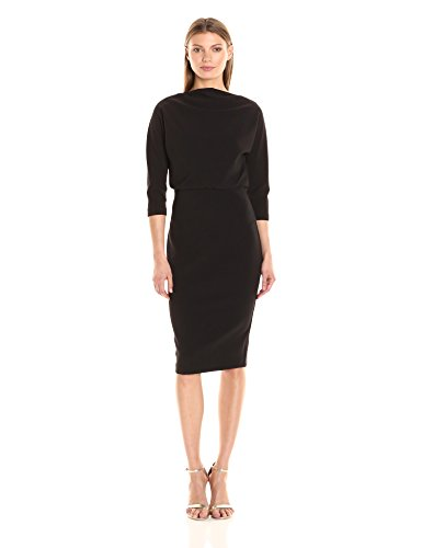 Badgley Mischka Women's 3/4 Sleeve Blouson Dress, Black, L