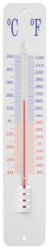 Esschert Design Thermometer, Temperaturmesser in weiß, Anzeige in Fahrenheit und Celsius, ca. 8,1 cm x 45 cm