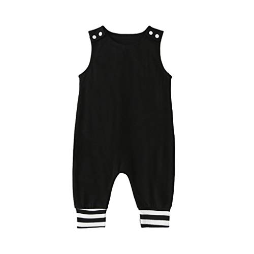 Infant Baby Boys Girls Sleeveless Romper Jumpsuit Striped Print Patchwork Bodysuit Overalls Summer Outfits for 3-18 Months Black
