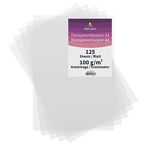 Tritart Transparentpapier Bedruckbar Weiß DIN A4 | 125 Blatt 100g/m2 | Papier Transparent