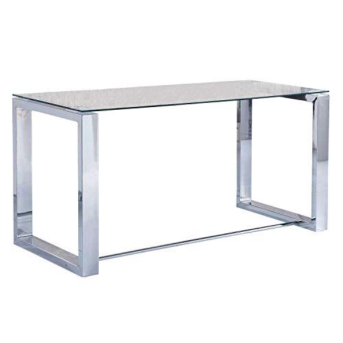 Adec Mesa de Estudio Oficina Office, Cristal Transparente y Cromado, Medidas 140 cm x 70 x 75 de Altura