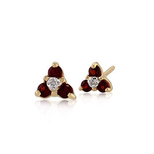 Gemondo Granato Orecchini A Perno, 9ct Oro Giallo 0.24ct Granato & Diamante Tre Pietre Orecchini Disposti A Grappolo