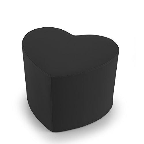 EXTOITALY Coeur Noir Pouf en Cuir synthétique Adapté à séance mis.50 x 41 h.41 cm. Déhoussable Disponible en 10 Couleurs intérieur en polyuréthaneNome articolo (Titolo)