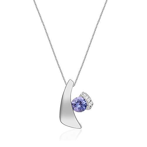 Gin & Grace 925 Sterling Silver Natural Diamond(I1) Pendant Necklace with Genuine Tanzanite Daily Work Wear Jewelry for Women Gifts for Her