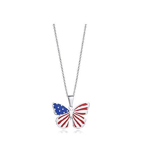 YAMAO Hombre Collar,Collares de Mariposas con Bandera para Hombres y Mujeres, Colgante de Acero Inoxidable, joyería de Moda con Animales Vivos