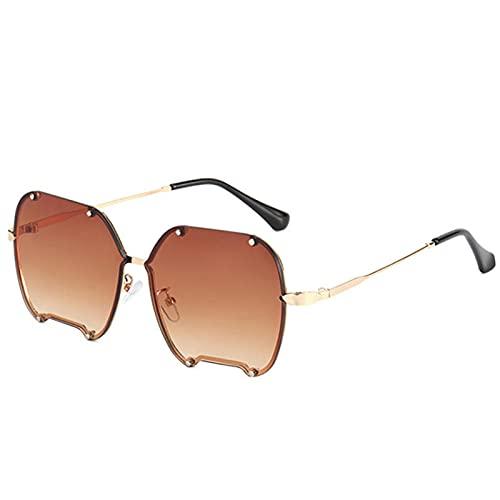 Gafas De Sol Hombre Mujeres Ciclismo Metal Irregular Sunglasses Men Women Fashion Gradient Sunglasses Ladies Vintage Gray Pink Eyewear-Brown