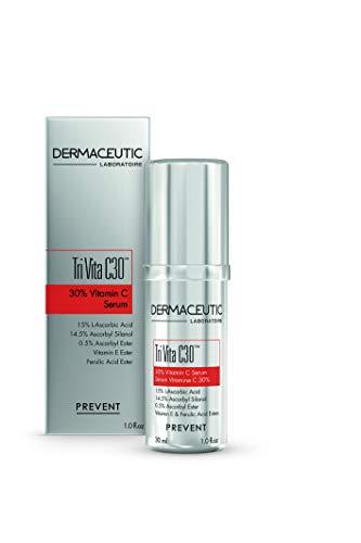 Dermaceutic Tri Vita C30-30% Vitamin C-Serum - Hochkonzentriertes Premium-Produkt mit 3 Arten von Vitamin C und Vitamin E - Antioxidatives Gesichtsserum - 30 ml