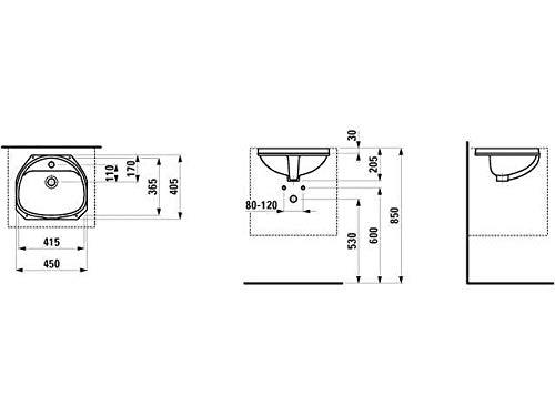 Laufen Einbauwaschtisch von unten Bilou 1 Hahnloch mittig mit Überlauf 415x365 weiß, Farbe: Weiß
