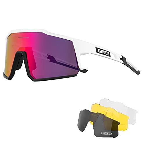 KAPVOE Gafas de Ciclismo Polarizadas con 4 Lentes Intercambiables TR90 Gafas de Sol Deportivas Mujeres Hombres Running MTB Bicicleta Accesorios 10