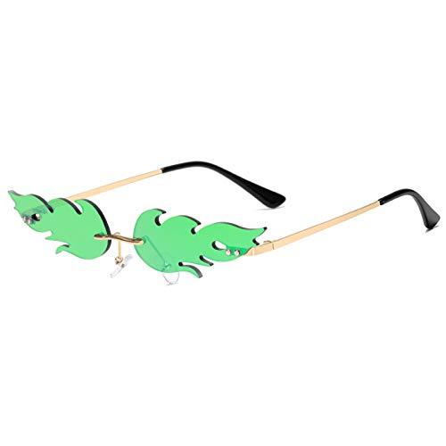 Gafas de Sol Sunglasses Gafas De Sol Retro con Llama De Fuego para Mujeres Y Hombres, Gafas De Sol Pequeñas con Ondas Vintage, Diseño De Hojas, Gafas De Moda Callejeras C