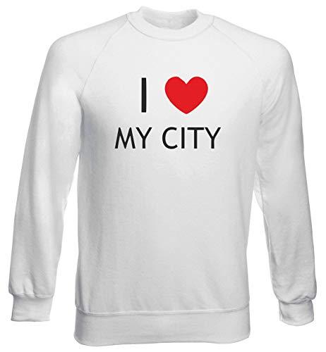 T-Shirtshock Felpa Girocollo Uomo Bianca TDM00112 I Love My City