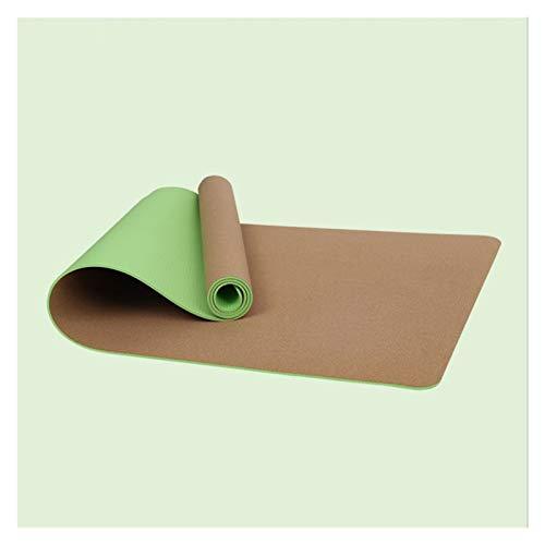 LDH Esterilla Yoga de Corcho Material TPE Material de 6 Mm de Espesor de Doble Cara Estera de Ejercicios Antideslizantes de Alta Resistencia Y Alfombra De Entrenamiento Cómoda 183 * 66 Cm