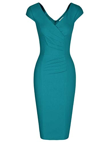 MUXXN Womens Gorgeous Deep V Neck High Stretch Dark Blue Cocktail Prom Pencil Dress (Harbor Blue M)