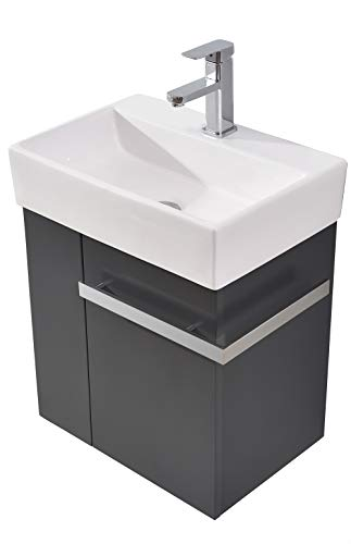 Badmöbel-Set Compact 500 für Gäste-WC - Anthrazit matt, Ablaufgarnitur/Pop-up:Ohne Ablaufgarnitur