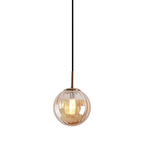 Lámpara de suspensión con pantalla de vidrio y cobre pendiente luz de la bola de diseño G9 suspensión regulable en altura bulbo de lámparas de comedor Dormitorio, ámbar φ15CM