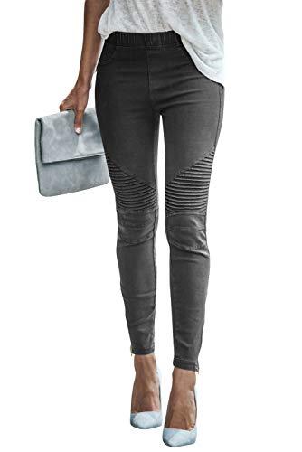 Damen Mode Freizeithose Stretchhosen Elastisch Hohe Taille Einfarbig Tights Jeggings Bleistifthosen Skinny Hose Leggings Joggers (Grau, S)