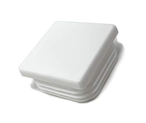 Design61 10 tapones de tubo cuadrados, 40 x 40 mm, con láminas para medidas interiores de 34 a 38 mm, color blanco