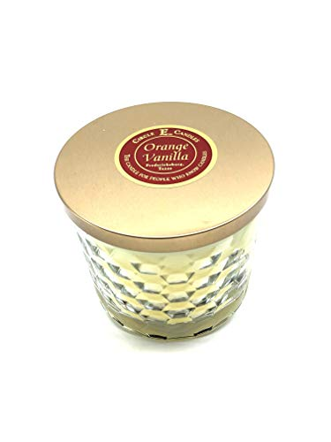 Circle E Orange Vanilla Scented Jar Candle   Size 17oz   85 Hour Burn Time   2 Wicks   Wax Color Butter   Glass Jar   Made in USA
