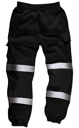 Qaswa Qaswa Hi Viz Herren Arbeitshose mit reflektierenden fluoreszierenden Jogginghosen Sicherheit Fleece Arbeitnehmer