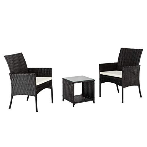 Conjunto de muebles de terraza 3 piezas 2 asiento individual 1 mesa de café combinación sofá cojines lavables y mesa de vidrio templado top al aire libre silla de ratán conversación muebles para jardí