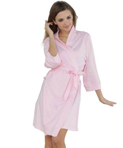 Godsen Women's Comfort Cotton Sleepwear Bathrobe,Pink (XXS)
