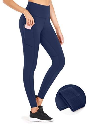 CUGOAO High Waist Fleece Lined Leggings with Pockets, Thermal Yoga Pants with Pockets for Women Tummy Control Workout Leggings