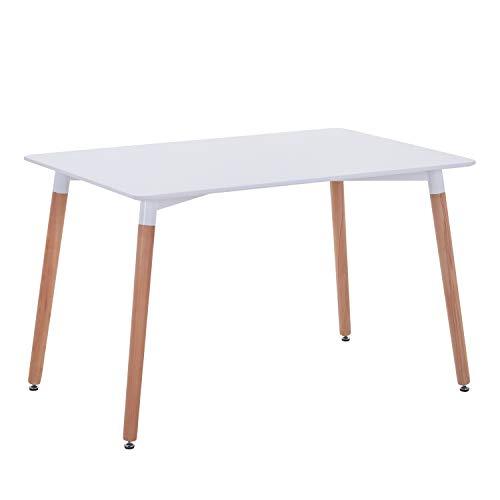 GOLDFAN Esstisch Weiß Küchentisch Matt Modern Wohnzimmertisch Holztisch für Büro Küche Weiß 120x70x75cm
