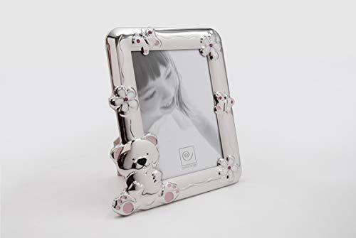 Mascagni - Cadre Photo en métal Brillant avec émail et éléments Swarovski - Rose - 13x18cm - Rectangle