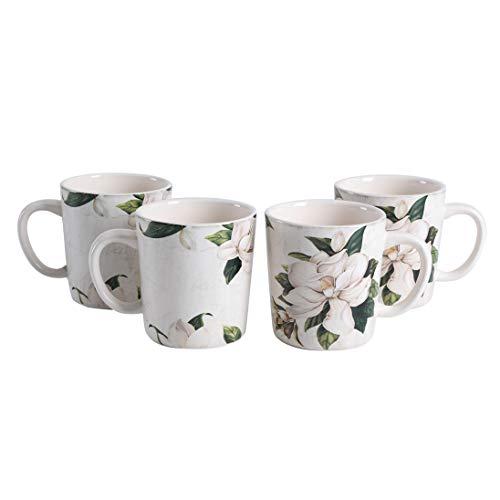 Bico Magnolia Floral - Juego de 4 tazas de cerámica para café, té, bebidas, microondas y lavavajillas