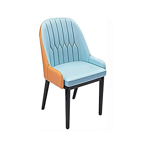 SHTFFW Cocina Sillas de Comedor Conjunto de Moderno Cuero de imitación Sala de Estar sillón recepción sillas cómodas Respaldo Resistente Patas de Acero (Color : Blue)