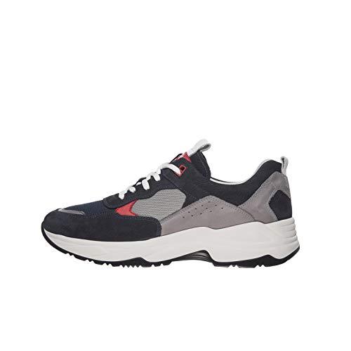 Nero Giardini E001512U Sneakers Uomo in Pelle E Tela - Blu Notte 45 EU
