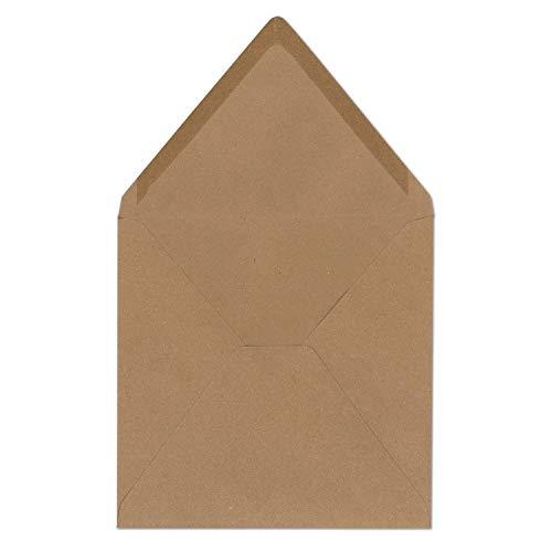 25 Quadratische Briefumschläge Kraftpapier Vintage Braun Recycling 16,5 x 16,5 cm 120 g/m² Nassklebung Post-Umschläge ohne Fenster