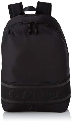 Calvin Klein - Striped Logo Round Backpack, Mochilas Hombre, Negro (Blackwhite Black), 1x1x1 cm (W x H L)