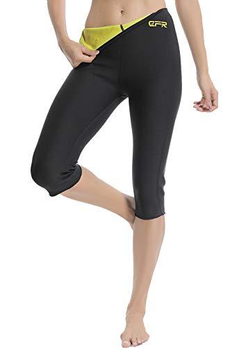 SEASUM Pantaloni Dimagrante Donna Leggins Sauna Neoprene Vita Alta Pantaloncino Termici Sudore Hot Shaper per Allenamento Perdita di Peso Sudorazione Yoga Fitness, B-Nero e Giallo XL