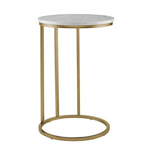 Yyqx Mesita de Noche Muebles Mesa Auxiliar Redonda Moderna for Sala de Estar Faux White Marble Gold Small Side Table Mesita de Luz