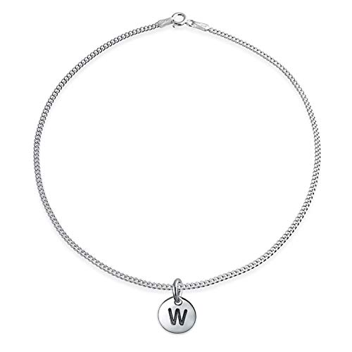 Tiny Minimalist Abc Round Disc Block Letter Alphabet W Initial Anklet For Teen For Women 925 Sterling Silver 10 Inch