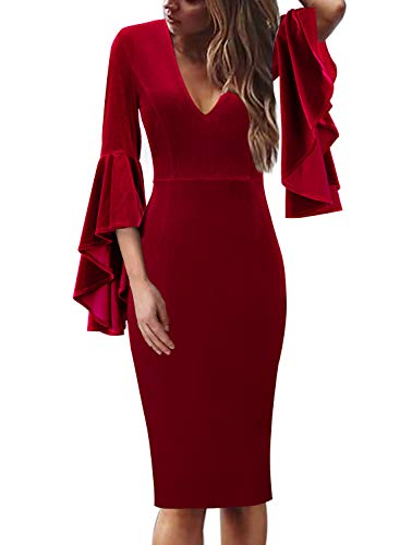 Womens Velvet Cocktail Dress with v-neck and bell sleeve in red