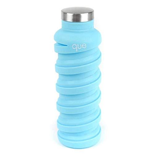 Que Bottle - Klappbare Wasserflasche,auslaufsicher, BPA-frei, wiederverwendbar, 590 ml, unisex Jungen Mädchen Herren damen, Eisberg-Blau