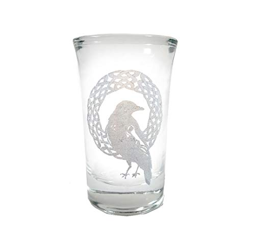 Celtic Raven Shot Glass - Free Personalized Engraving