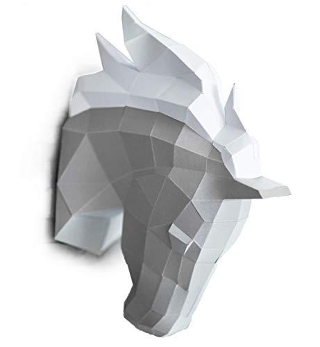 ORIGADREAM, PAPERCRAFT DIY Kit testa di cavallo NUOVO PUZZLE 3D MODERNO di assemblarsi per la decorazione della parete FAI DA TE scultura carta basso poli assemblaggio