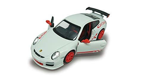 Jamara 405198 Street Kings Porsche 911 GT3 RS 1:32 Diecast weiß – Rückzugmotor, Scheinwerfer/Rücklichter, realistischer Sound, Türen öffnen, detailgetreues Design