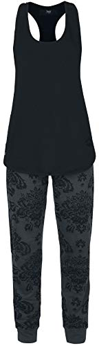 Black Premium by EMP Home Wear Set Mujer Pijama Gris Oscuro 4XL, 100% algodón,